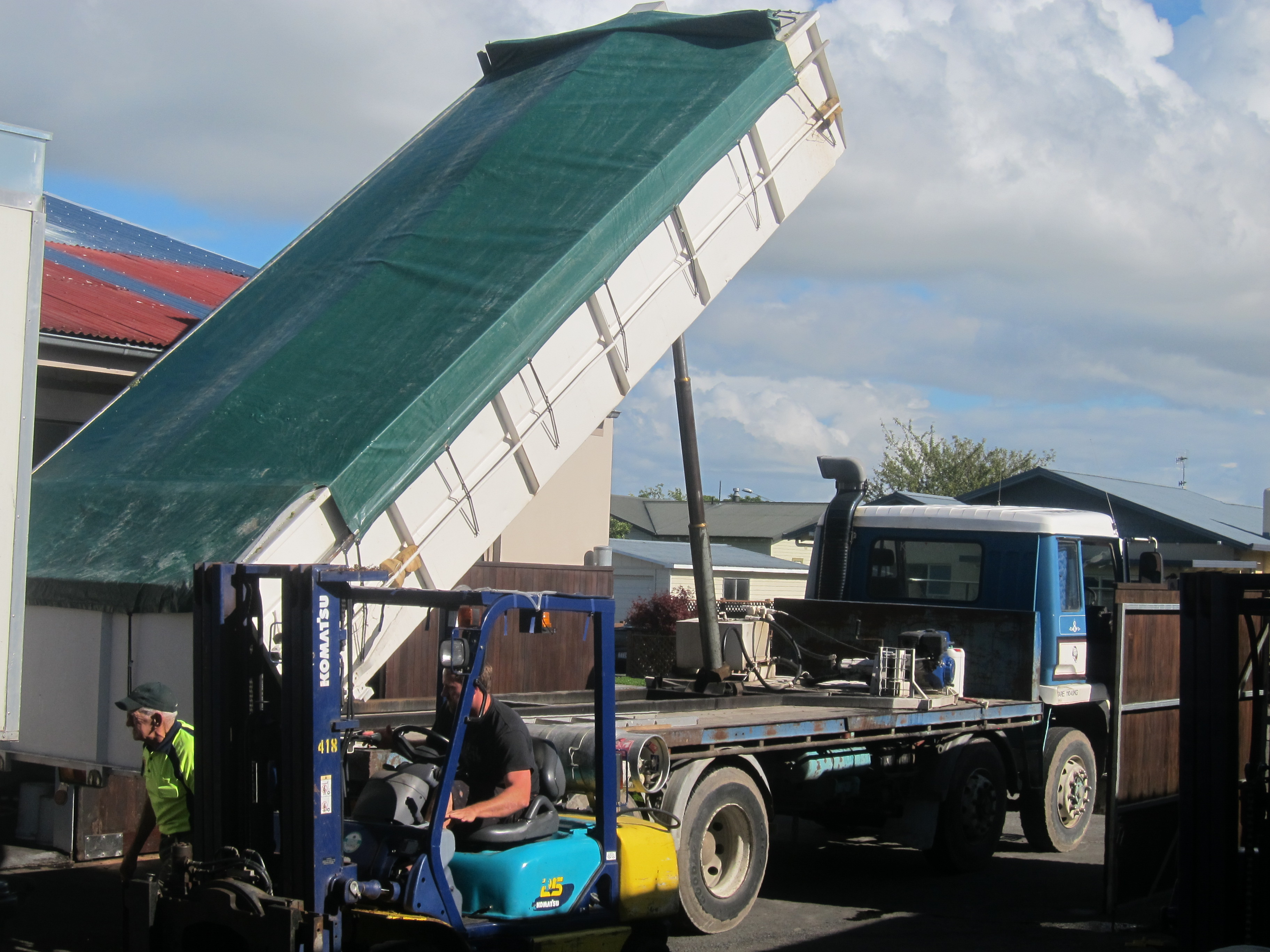 Truck Dumping Grapes Into The Receival Hopper